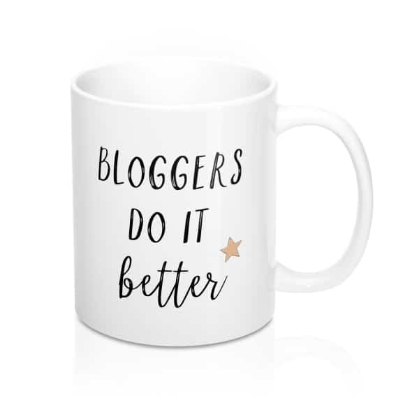 Gift ideas for bloggers. Quirky This girl loves blogging mug.