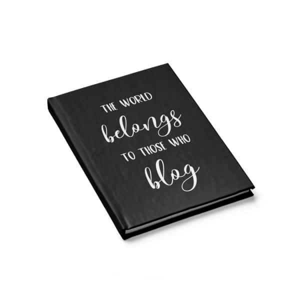Every blogger (and planner addict) needs at least one notebook to write down their tasks and goals, and this blogging themed blank-paged notebook would make the perfect personalized bullet journal!