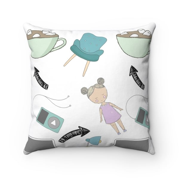 """Throw pillow for bloggers. A cute and quirky indoor pillow that adds personality to your home decor. This """"Little Miss Blogger"""" pillow is a great gift for new bloggers and aspiring entrepreneurs."""