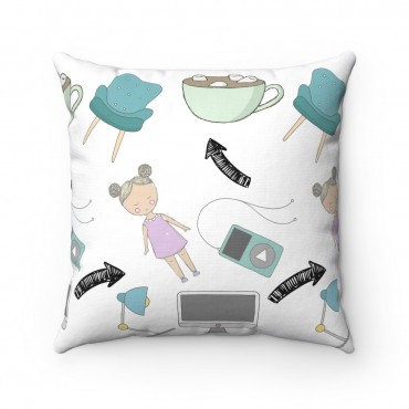 "Throw pillow for bloggers. A cute and quirky indoor pillow that adds personality to your home decor. This ""Little Miss Blogger"" pillow is a great gift for new bloggers and aspiring entrepreneurs."