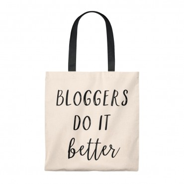 Bloggers do it better tote bag. A classic vintage tote bag with a stylish handle (multiple colors) and a blogging themed messaged. Great gift idea for the blogger in your life! Add to cart today!
