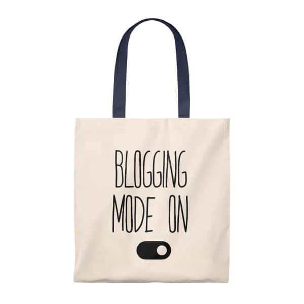 A classic vintage tote bag with a stylish handle (multiple colors) and a blogging themed message. Great gift idea for the blogger in your life! Add to cart today!