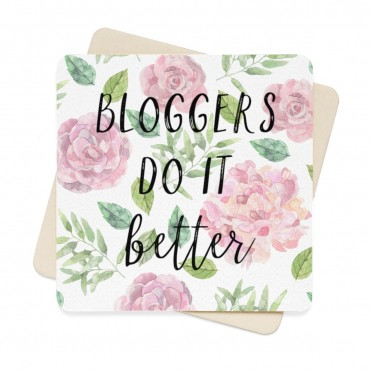 Bloggers do it better watercolor design printed coaster set for bloggers. A stunning watercolor design coaster set for bloggers and online creatives who love to work with a cup of coffee or a glass of wine next to them at all times.
