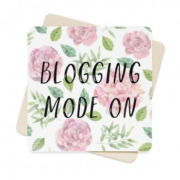 Blogging mode on - watercolor prin coaster set for bloggers. A stunning watercolor design coaster set for bloggers and online creatives who love to work with a cup of coffee or a glass of wine next to them at all times. Comes with 6 identical paper coasters.