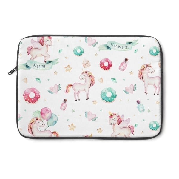 This watercolor unicorn laptop sleeve cover is the ideal gift for any blogger or entrepreneur! Perfect fit for a Mackbook or any other laptop (check sizing guide below). Get yours today! Cute unicorn laptop sleeve.