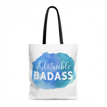"Carry your laptop and belonging with style! Get your hands on this ""Adorable Badass"" tote bag and claim your awesomeness! Now, in multiple sizes for your comfort."