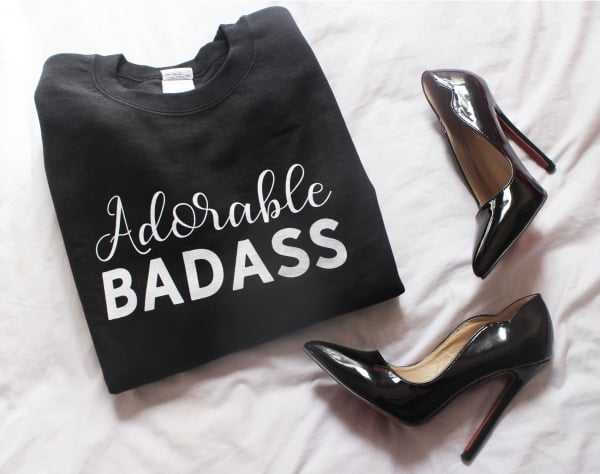 """Get comfy and cozy with style! These """"Adorable Badass"""" sweatshirts are a must-have item for the wardrobe (or Instagram feed) of any unstoppable online creative who loves the work they do. Get yourstoday!"""