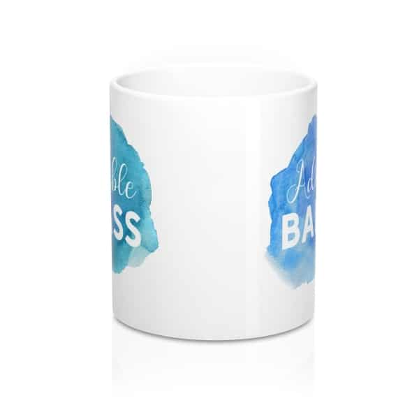 "Looking for a gift idea for bloggers or entrepreneurs? Want to spruce up your workspace with a quirky mug? Get this ""Adorable Badass"" watercolor design mug for bloggers. Gift guide for bloggers and home office accessories."