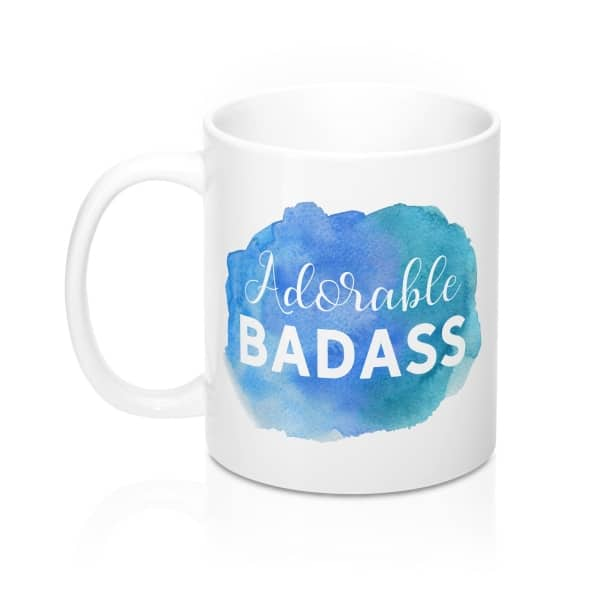 """Looking for a gift idea for bloggers or entrepreneurs? Want to spruce up your workspace with a quirky mug? Get this """"Adorable Badass"""" watercolor design mug for bloggers. Gift guide for bloggers and home office accessories."""