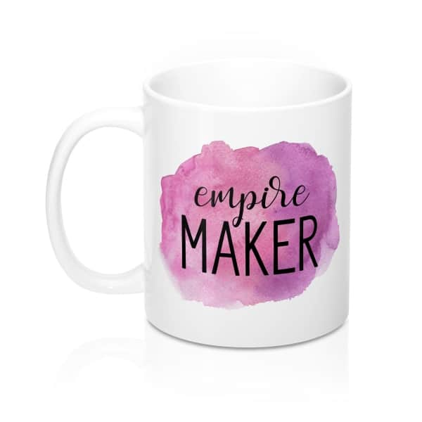 A vibrant watercolor design for entrepreneurs who are ready to conquer the world! This mug is a perfect uplifting gift idea for any business owner! Empire maker mug.