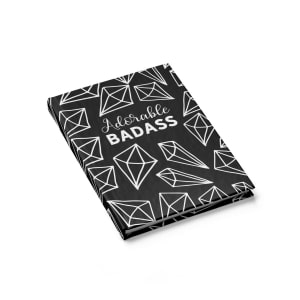 "Every entrepreneur (and planner addict) needs at least one notebook to write down their tasks and goals, and this blank-paged ""Adorable Badass"" notebook would make the perfect inspirational bullet journal!  Dimond pattern black notebook for bloggers."