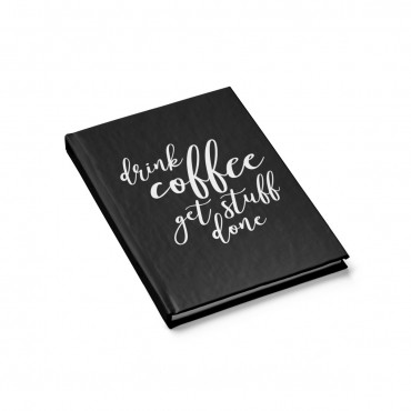"Looking for a simple notebook to decorate your home office? Grab this ""Drink Coffee Get Stuff Done"" journal or buy it for as a gift for the coffee lover in your life! Office gift idea, home office decor, funny throw pillow, stationary for bloggers, agift idea coffee lovers, coffee humour quote, gift guide for online entrepreneurs, gift idea for moms. #giftideaformoms"