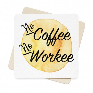 "In need of a new set of coasters? Grab these ""No Coffee No Workee"" watercolour coasters today and decorate your home office. Perfect gift for coffee lovers and a great office gift. Funny gift idea for small business owners. #giftidea"
