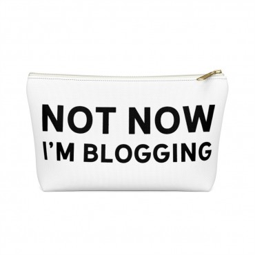 "Need an accessory pouch to store your make-up or an adorable travel bag to carry to the coffee shop with you? Check out our blogging bags collection (including this double-sided ""Not Now I'm Blogging"" print) and find more gift ideas for bloggers! Funny gift idea for bloggers, office gift idea, make-up pouch, photography prop bloggers."