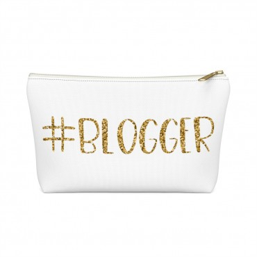 "Need an accessory pouch to store your make-up or an adorable travel bag to carry to the coffee shop with you? Check out our blogging bags collection (including this double-sided ""Blogger"" print) and find more gift ideas for bloggers! Funny gift idea for bloggers, office gift idea, make-up pouch, photography prop bloggers."